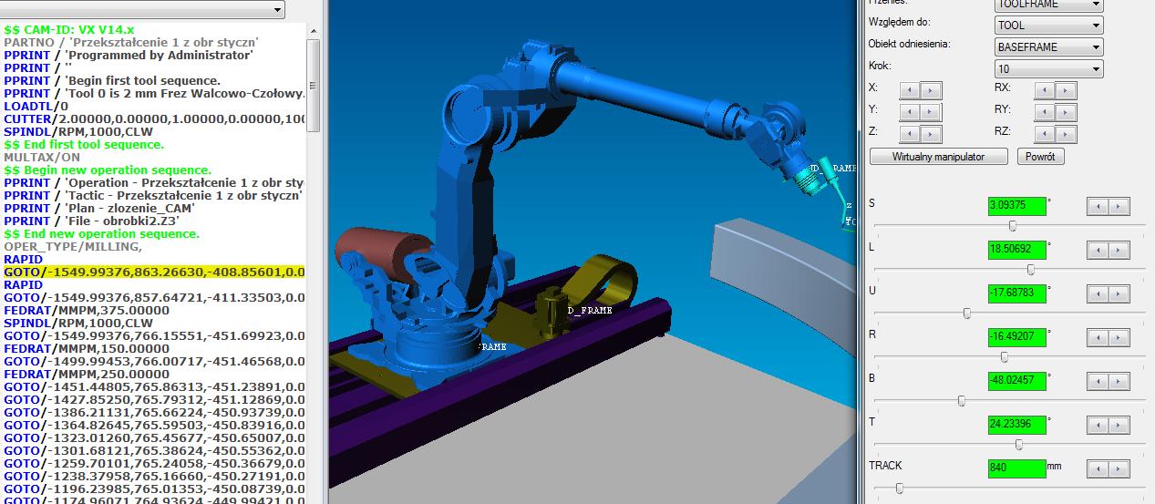 symulator robota ukosowanie